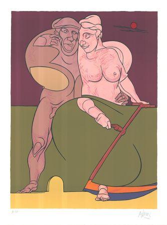 Lithograph Adami - Picasso et la femme neo-classique