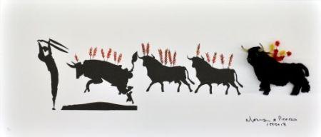 Lithograph Leirner - Picasso Toros-1