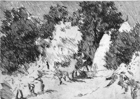 Engraving Castellani - Piccolo paesaggio a Reforzate
