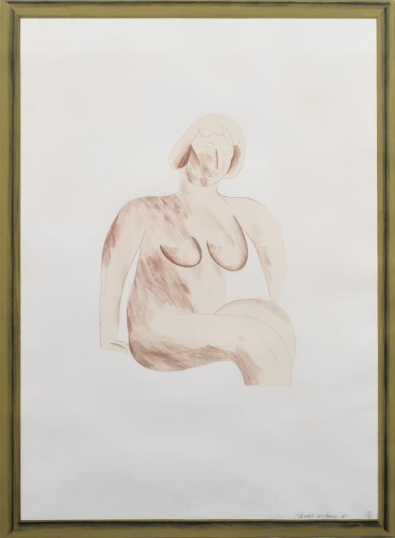 Lithograph Hockney -  Picture of a Simple Framed Traditional Nude Drawing