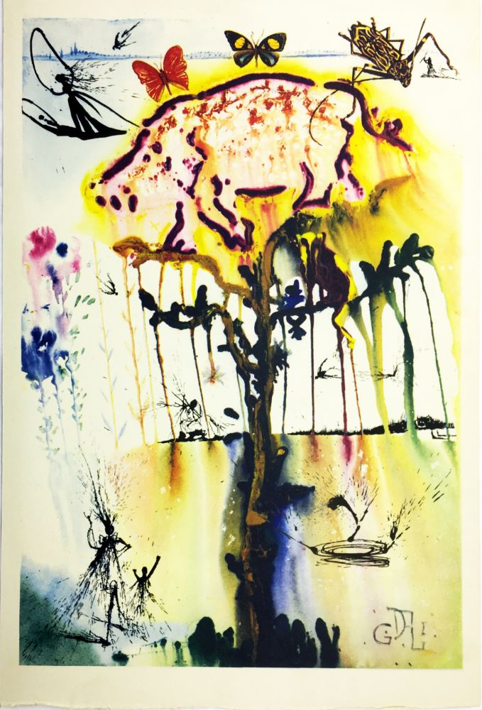 Rotogravure Dali - PIG AND PEPPER TREE (From Alice in Wonderland. New-Yok 1969).