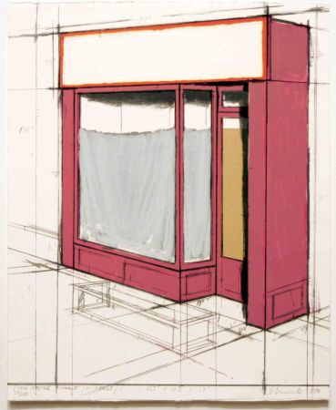 Lithograph Christo - Pink Store Front, Project from Marginalia