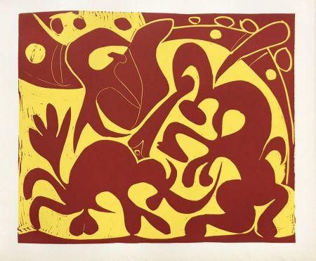Linocut Picasso (After) - Pique Rouge et Jaune