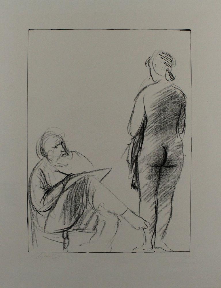 Lithograph Manzu - Pittore e modella