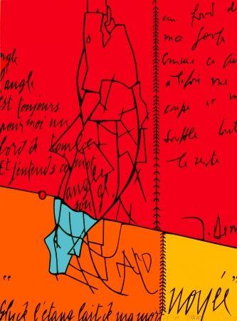 Lithograph Adami - Placard Derrida