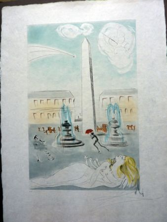 Etching And Aquatint Dali - Place de la Concorde