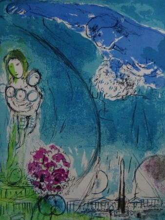 Lithograph Chagall - Place de la Concorde 1952