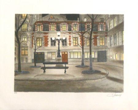 Lithograph Lecoindre - Place furstenberg