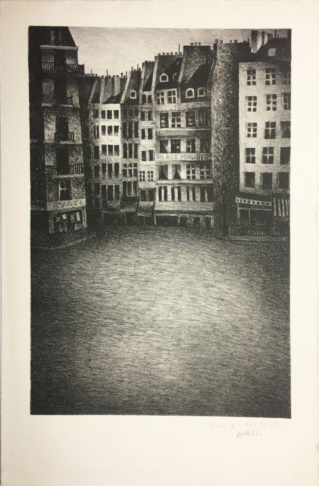 Lithograph Avati - PLACE MAUBERT (1951)