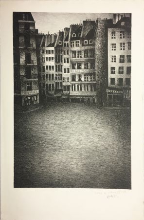 Lithograph Avati - PLACE MAUBERT (1951)