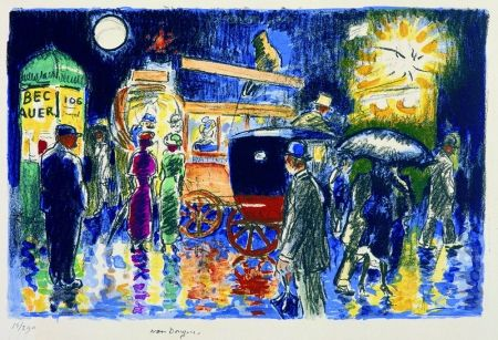 Lithograph Van Dongen - Place Pigalle by Night