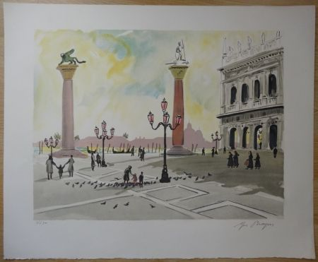 Lithograph Brayer - Place Saint Marc à Venise