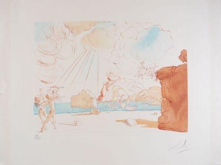 Engraving Dali - Plage de Cadaqués - Beach at Cadaques