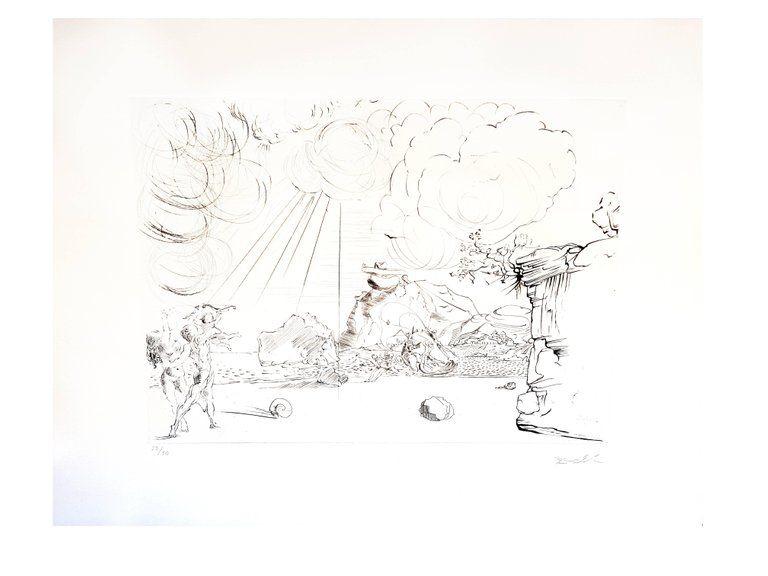 Lithograph Dali - Plage de Cadaques
