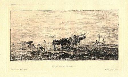 Etching Daubigny - Plage de Villerville