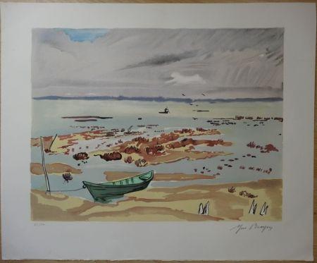 Lithograph Brayer - Plage en Bretagne