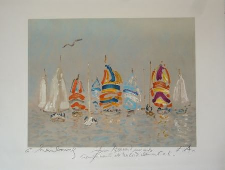 Lithograph Hambourg - Plage Trouville