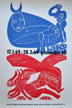 Lithograph Grieshaber - Plakat Braunschweiger Kunstverein 1969