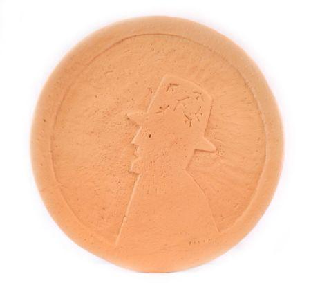 Ceramic Folon - Plate - Man with hat - Personnage au chapeau