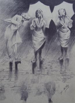 Lithograph Dillon - Pluviôse / Rainy