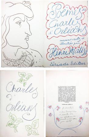 Illustrated Book Matisse - POÈMES DE CHARLES D'ORLÉANS manuscrits et illustrés par Henri Matisse (1950). Dédicace avec dessin original aux pastels de couleur.