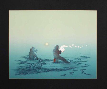 Lithograph Fanti - Poèmes inutiles (Lecteur de poésie dans la neige)