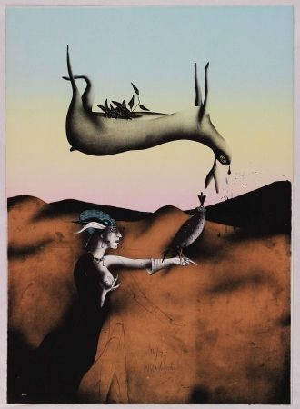 Lithograph Wunderlich - Poésie de la chasse italienne
