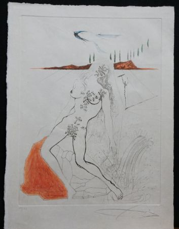 Etching Dali - Poems Secrets Nude at The Fountain