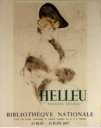 Lithograph Helleu - Pointes  Seches  Bibliotheque Nationale