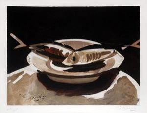 Etching Braque - Poissons
