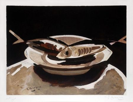 Etching Braque - Poissons (Fish), c. 1956