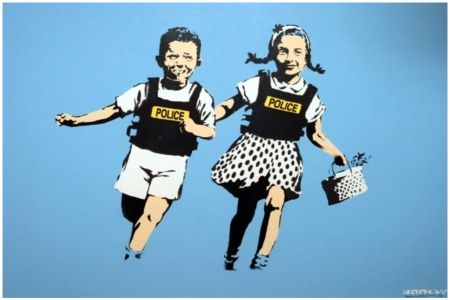 Screenprint Banksy - Police Kids