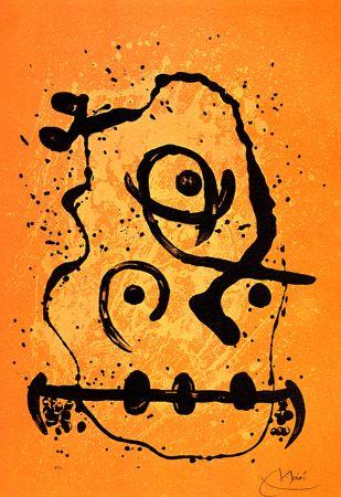 Lithograph Miró - Polyglotte Orange