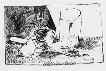 Lithograph Picasso - Pommes, Verres et Couteau
