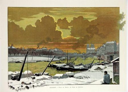 Lithograph Grasset - Pont de Sully