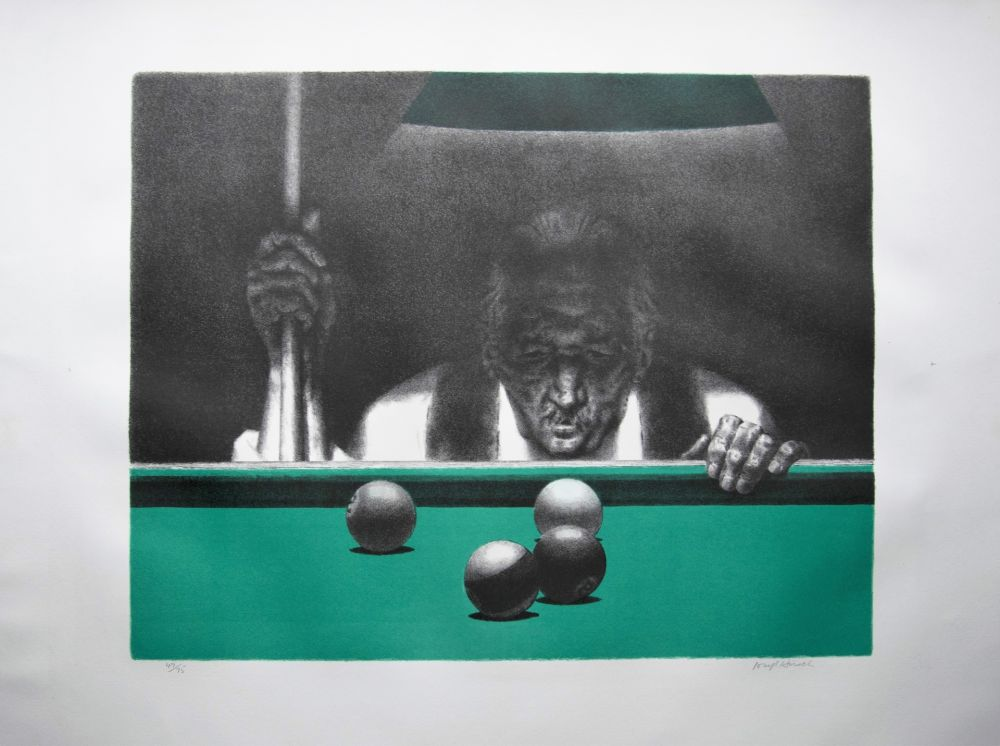 Lithograph Hirsch - Pool player