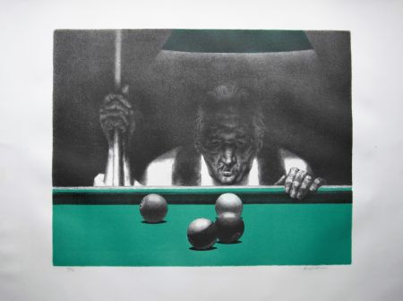 Lithograph Hirsch - Pool player
