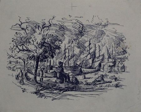 Lithograph Kitzel - Port