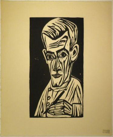 Woodcut Scherer - Porträt Hans R. Schiess