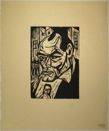 Woodcut Scherer - Porträt Otto Rühle