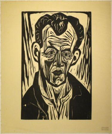 Woodcut Scherer - Porträt Paul Camenisch