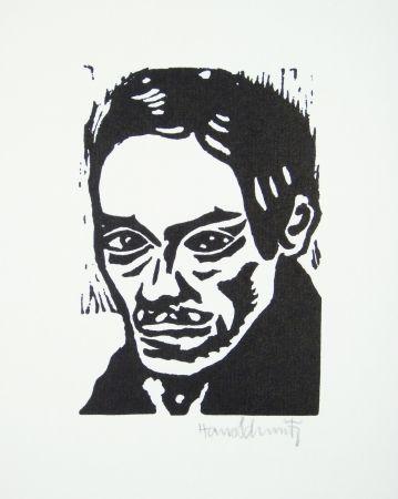 Linocut Schmitz - Porträt Seiwert