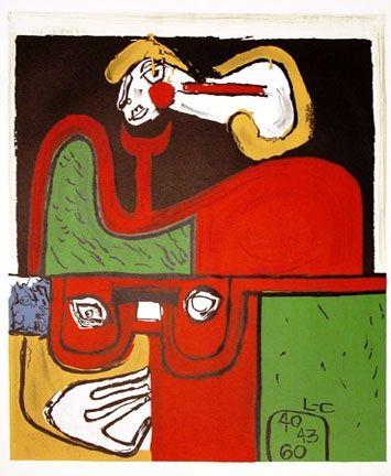 Lithograph Le Corbusier - Portrait
