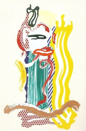Screenprint Lichtenstein - Portrait, Brushstrokes