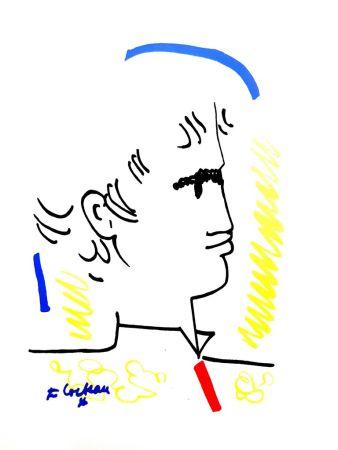 Lithograph Cocteau - Portrait Coloré