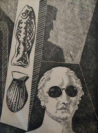 Woodcut De Chirico - Portrait d'Apollinaire
