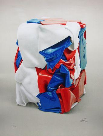 Lithograph Cesar - Portrait de compression bleu-blanc-rouge