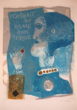 Carborundum Tobiasse - Portrait de dame avec cerise