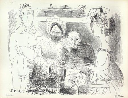 Lithograph Picasso - Portrait de Famille II