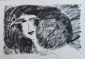 Lithograph Ting - Portrait De Femme